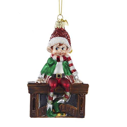 Kurt Adler 4.5″ Noble Gems Glass Elf ON Mantle Ornament