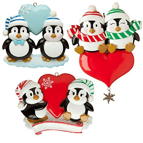 Penguin Couple Blue Heart at Top with Snow Personalized Christmas Tree Ornament