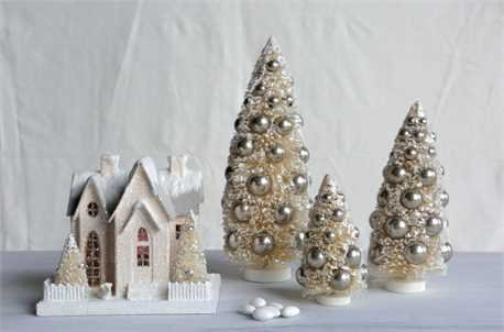 6″, 9″, & 12″h Bottle Brush Christmas Trees w/ Silver Ornaments, Cream, Set of 3