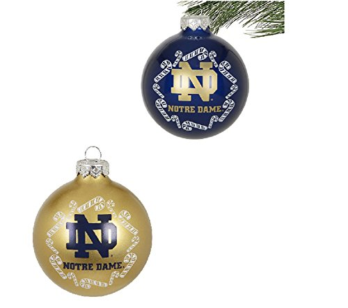 Notre Dame Fighting Irish NCAA Home and Away Glass Christmas Ornament Set (Set of 2)- 2 3/4″ Each