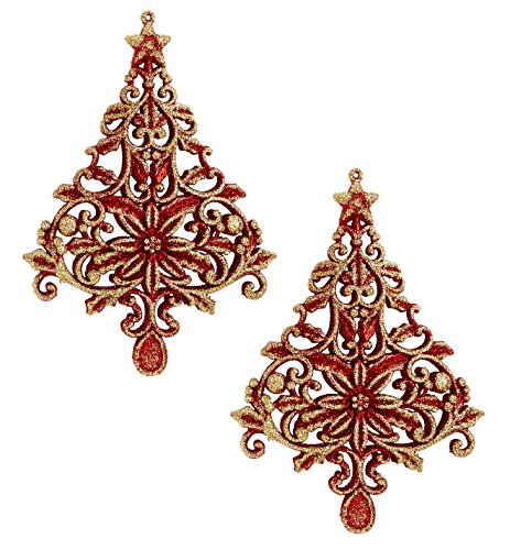 Holiday Lane Red and Gold Glitter Tree Filigree Christmas Ornaments (Set of 2)