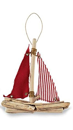Mud Pie Sailboat Ornament, Choice of Style (Red)