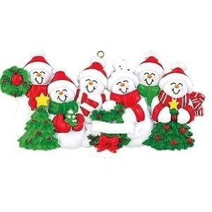 Snowman Family of 6 Personalized Christmas Holiday Ornament