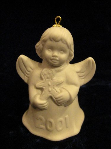 2001 Annual Dated Goebel Angel Bell Ornament – White – 26th Edition