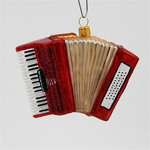 Accordion Musical Instrument Polish Mouth Blown Glass Christmas Ornament