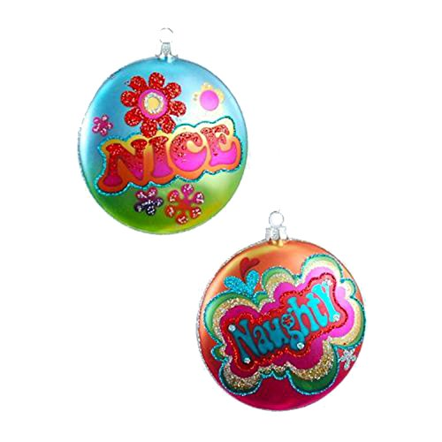 One Hundred 80 Degrees Rainbow Naughty Nice Disk Ornaments (Set/2)