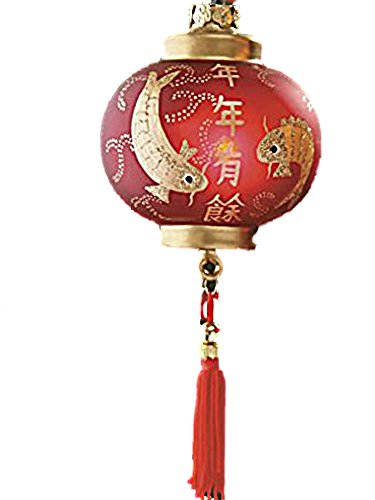 TRADITIONAL ASIAN CHINESE ORIENTAL RED LANTERN ILLUMINATED GLASS ORNAMENT