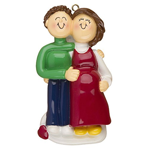 Pregnant Couple: Both Brown Personalized Christmas Tree Ornament