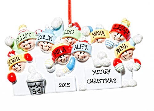 Family 9 (nine) Person Personalized Name SnowBall Holiday Christmas Tree Ornament-Free Name Personalized – Shipped In One Day