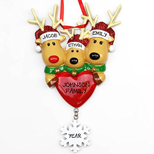 New Reindeer Family of 3 Personalized Christmas Ornament