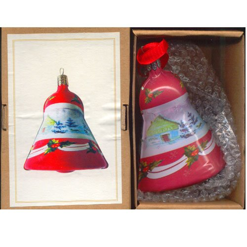 Thomas Pacconi Classic Vintage Style Tin Christmas Holiday Ornament Bell – Red