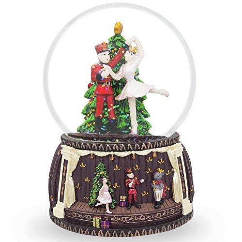 6″ Nutcracker and Ballerina Dancing Around Christmas Tree Musical Snow Globe