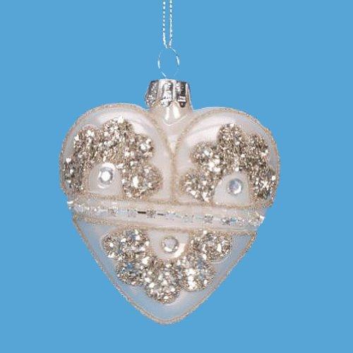 Glass Heart Ornament Jeweled Heart Ornament – Ivory Heart