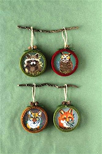 Creative Co-Op Camp Christmas Round Ornament With Animal Image, Set of 4