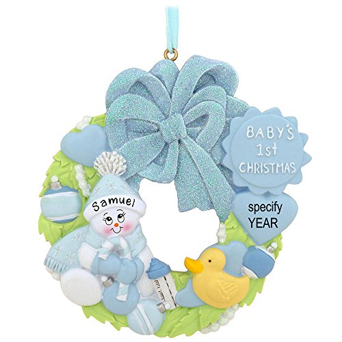 Blue Baby's First Christmas Wreath Personalized Ornament
