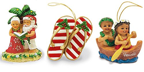 Hand-painted Hawaiian Christmas Ornament Bundle with Paddling Keiki on a Canoe, Caroling Mr and Mrs Claus and Festive Slippers – 3 Items
