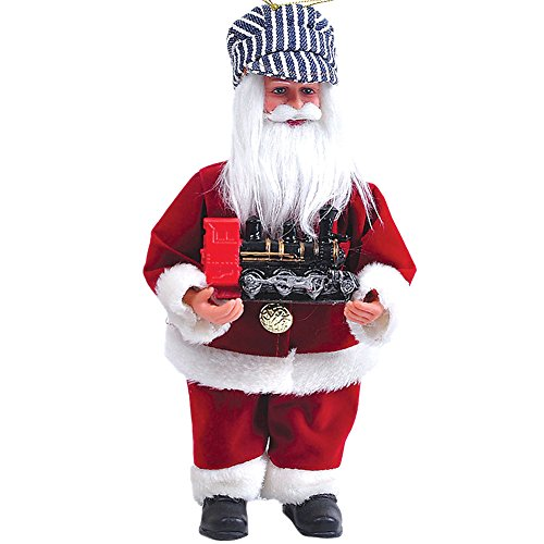 Decorative Collectible Santa Claus And Train Holiday Christmas Tree Ornament