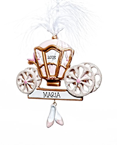 Christmas Holiday Princess Carriage Ornament-Free Name Personalized-Shipped In One Day
