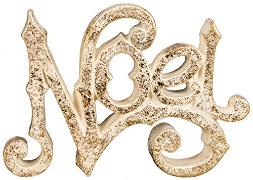 Sparkly Gold Cutout Tabletop Holiday Sign – Heavy and High Quality (Noel)