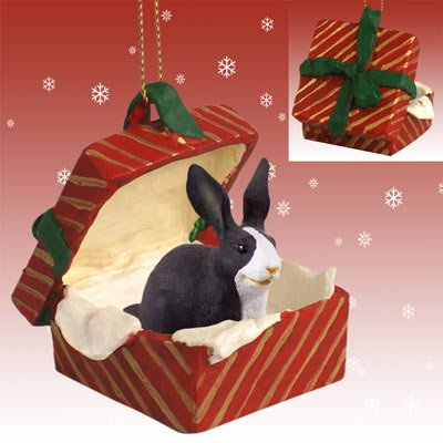 Conversation Concepts Rabbit Black & White Gift Box Red Ornament