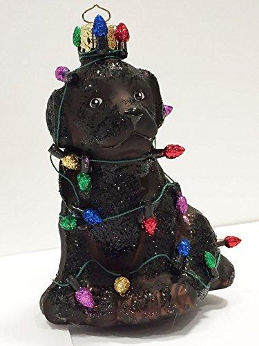 Ornaments to Remember: Black Labrador Puppy (Christmas Lights) Christmas Ornament