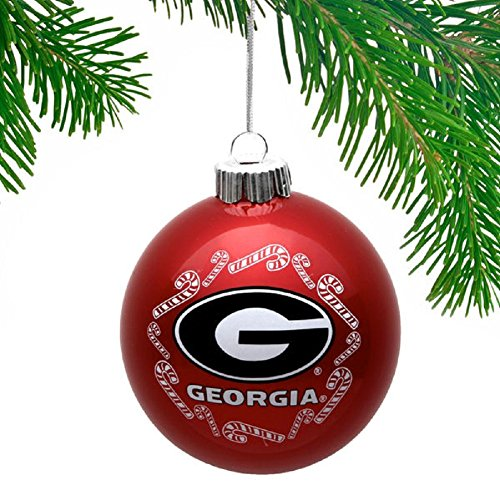 NCAA Candy Cane Traditional Glass Ball Christmas Ornament- 2 5/8″-Georgia Bulldogs