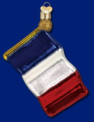 Old World French Flag Glass Ornament 36123