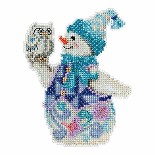 Snowy Owl Snowman Beaded Counted Cross Stitch Kit Mill Hill 2015 Jim Shore Winter Series JS205103