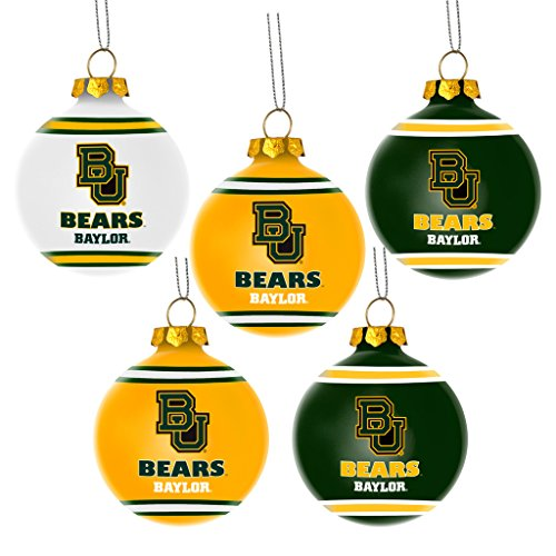 Baylor Bears Official NCAA 3 inch Plastic Christmas Ball Ornament 5 Pack by Forever Collectibles 360532