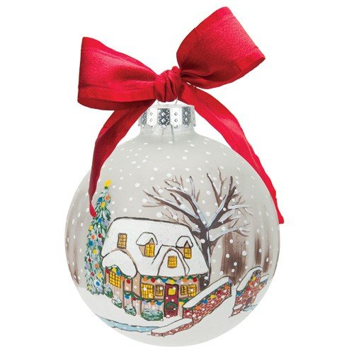 Santa Barbara Design Studio Lolita Holiday Moments Glass Ball Ornament, A White Christmas