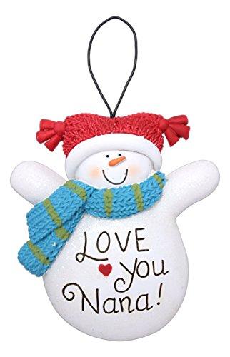 """3"""" """"Love You Nana!"""" Snowman Ornament"""
