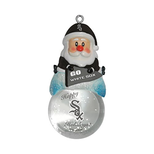 MLB Chicago White Sox Snow Globe Ornament, Silver, 1.5″
