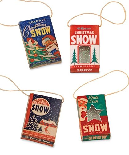 Bethany Lowe Mini Snow Box Ornament, Set of 4 SE4753