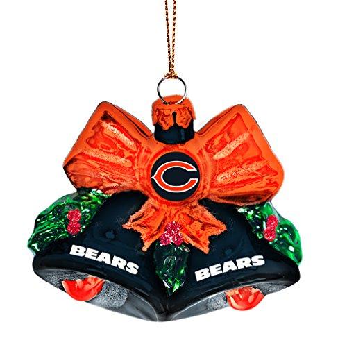 NFL Chicago Bears Glitter Bells Ornament, Green, 3″ x 3″