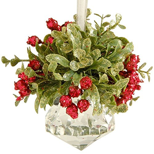 Glittery Hanging Christmas Mistletoe on Faceted Acrylic Prism Ornament (Jewel)