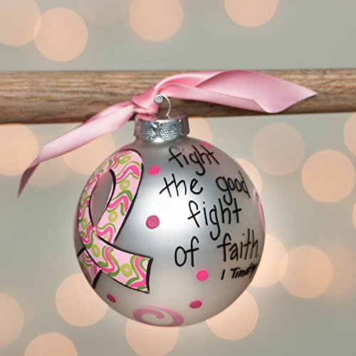 Glory Haus Breast Cancer Ribbon Glass Ornament, 4-Inch