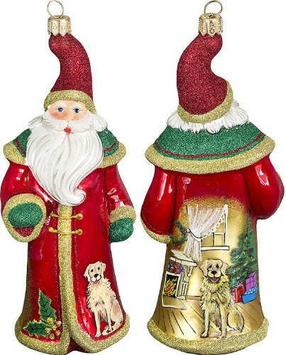 Glitterazzi Waiting for Christmas Golden Retriever Santa by Joy to the World Collectibles – 6.75″H.