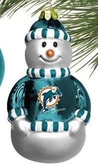 NFL Miami Dolphins Blown Glass Snowman Christmas Ornament