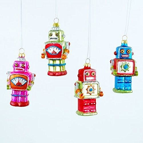 180 Degrees Mini Robot Ornaments, Set of 4 by 180 Degrees