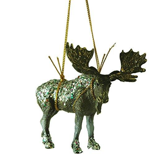 Glitter Moose Resin Hanging Christmas Tree Ornament