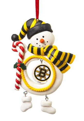 Boston Bruins Jolly Snowman Christmas Ornament