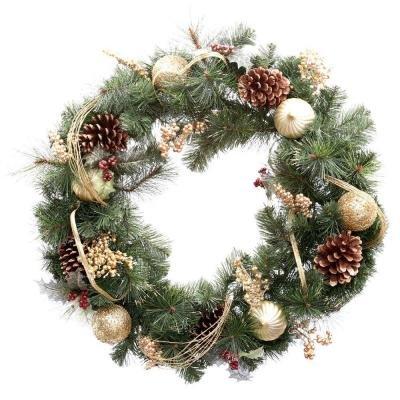 30 in. Unlit Golden Holiday Artificial Wreath