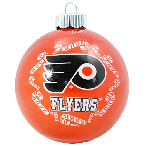 NHL Candy Cane Traditional Glass Ball Christmas Ornament- 2 5/8″-Philadelphia Flyers