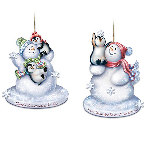 Dona Gelsinger Light Up Snowman and Penguin Glass Ornaments with Timer: Set of 2 by The Bradford Exchange