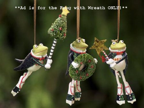 Patience Brewster Krinkles Frog with Wreath Christmas Ornament