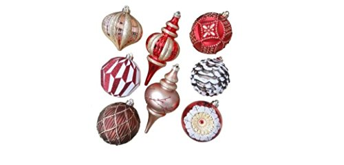 Snowberry 5 in. Geometric and Swirl Shatter-Resistant Ornaments (8 Piece Set)