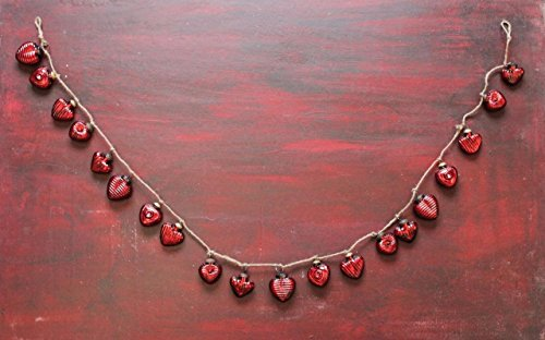 Valentine RED MERCURY GLASS Heart Garland 67″ long NEW Vintage Style Design
