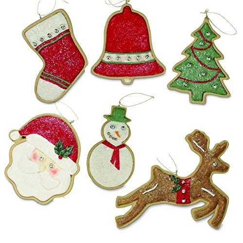 Bethany Lowe 6 Piece Sugar Cookie Ornament Set, Festive Colors