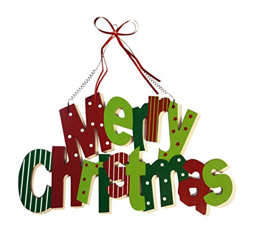 Extra Large Merry Christmas Holiday Greeter Sign with Ribbon