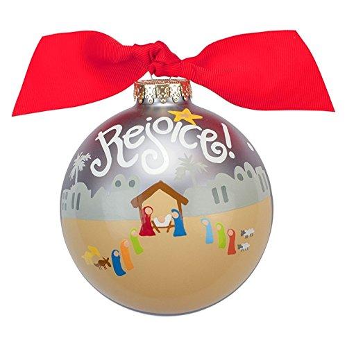 Rejoice Nativity Glass Ornament